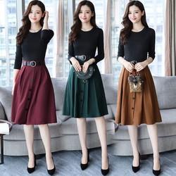 Đầm xòe chân váy phối nút kèm nịt DX2690 - Hàng nhập loại 1