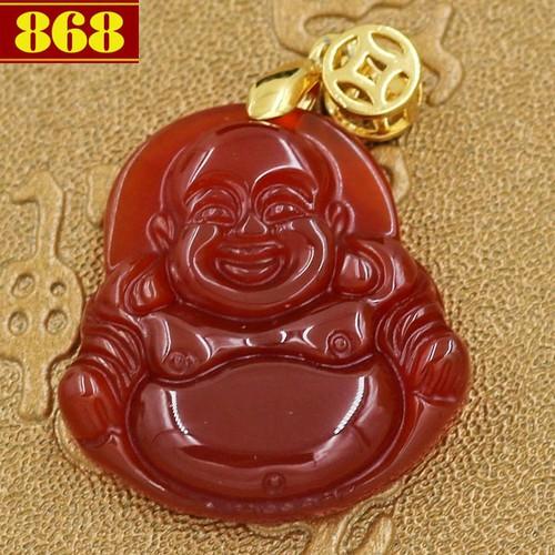Mặt Phật Di lặc đá thạch anh đỏ 3.8 cm