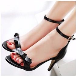 Giày cao gót hở mũi đính nơ đen