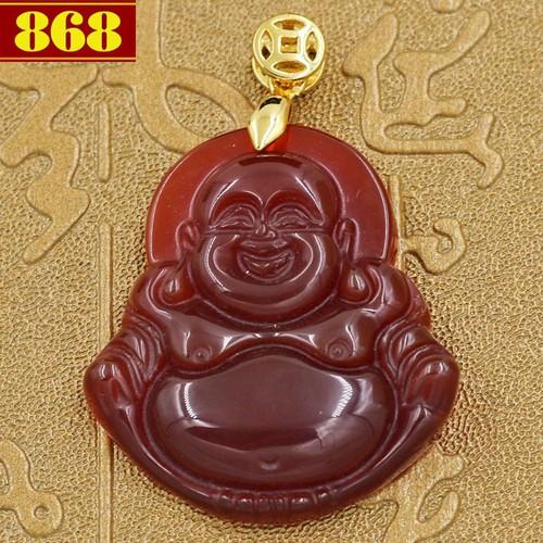 Mặt Phật Di lặc đá thạch anh đỏ 2.9 cm