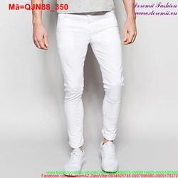 Quần jean nam trắng phối túi trẻ trung năng động QJN88