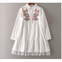 Đầm Peplum Thêu Hoa Phối Ren