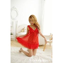 Đầm ngủ voan gởi cảm khoét Sâu kèm quần lót