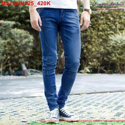 Quần jean nam màu xanh xước nhẹ