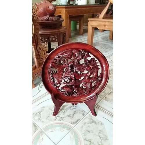 đĩa tứ linh gỗ gụ kt đĩa cao 38cm đường kính 32cmx32cm