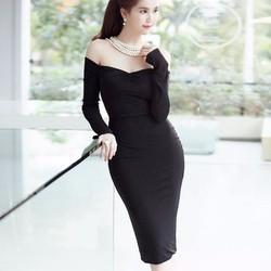 Đầm đen bẹt vai ôm body thiết kế sang trọng