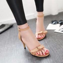 Giày cao gót hở mũi đính nơ nâu nhạt