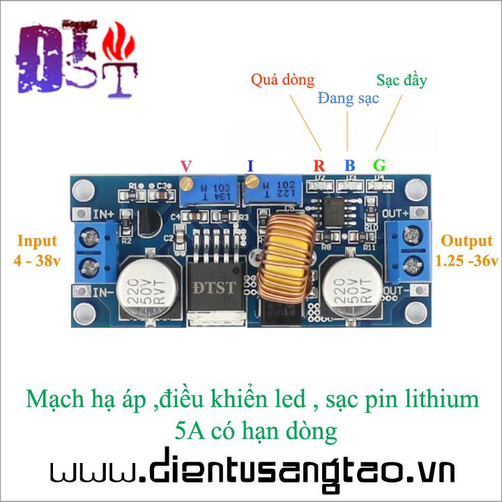 Mạch hạ áp ,điều khiển led , sạc pin lithium  5A có hạn dòng 1