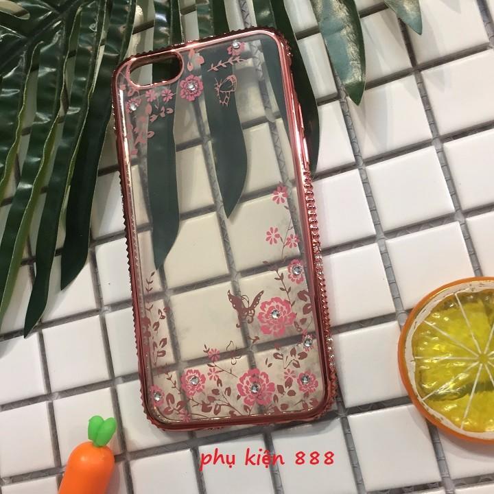 Ốp lưng Iphone 6 6s silicon dẻo hoa bướm viền đá 7