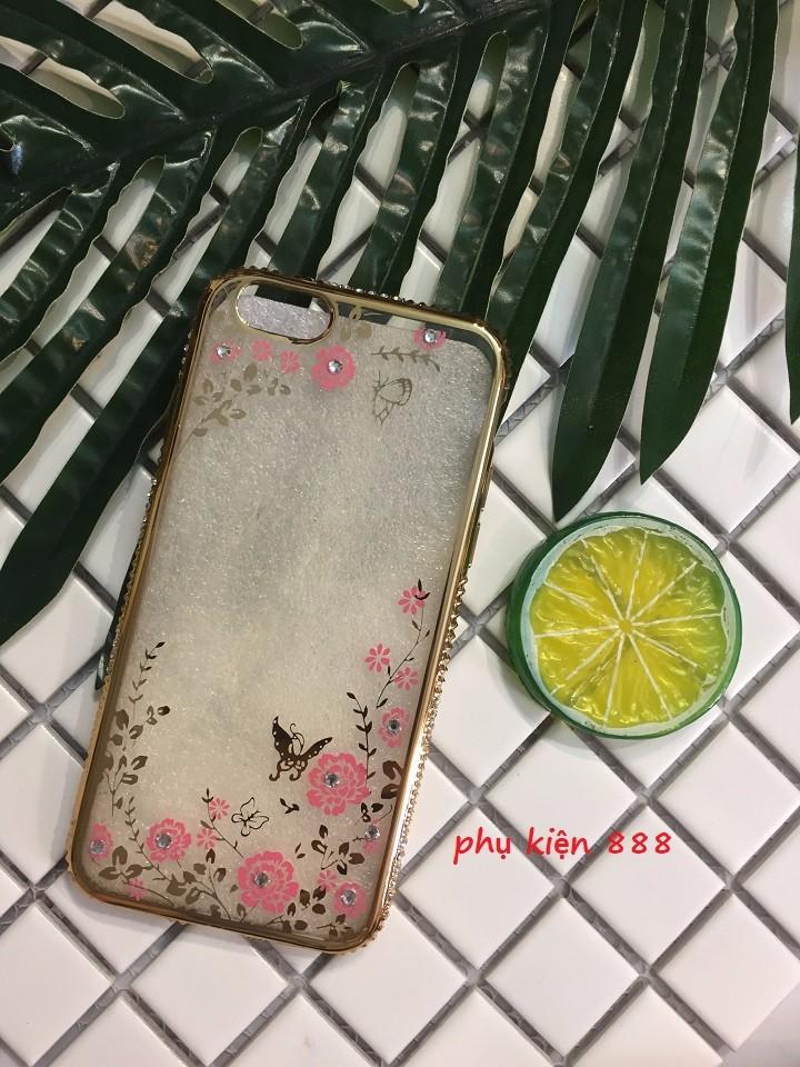 Ốp lưng Iphone 6 6s silicon dẻo hoa bướm viền đá 1