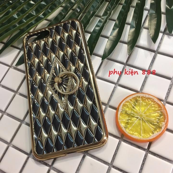 Ốp lưng Iphone 7 Plus silicon dẻo kim cương móc tay viền đá 7