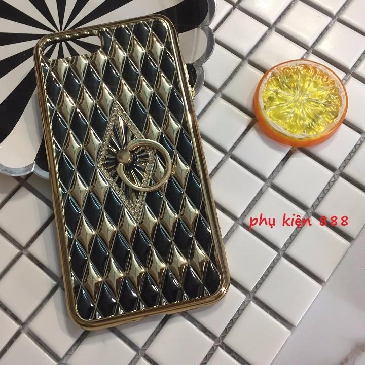Ốp lưng Iphone 7 Plus silicon dẻo kim cương móc tay viền đá 3