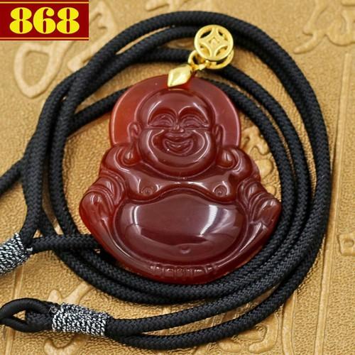 Vòng cổ Phật Di lặc đá thạch anh đỏ 2.9 cm