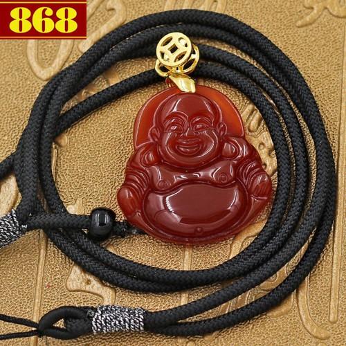 Vòng cổ Phật Di lặc đá thạch anh đỏ 3.8 cm