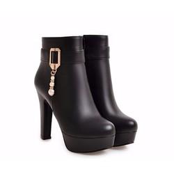 B041- Giày boots nữ đính đá phong cách Hàn Quốc