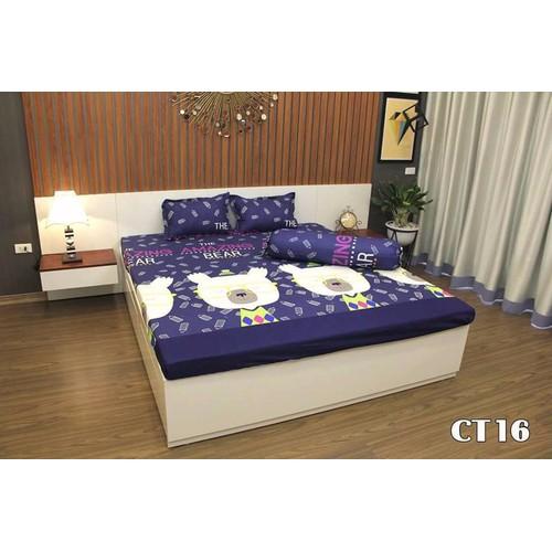 Bộ drap giường + 2 vỏ gối nằm cotton poly cao cấp Gấu Bút Chì-PL109