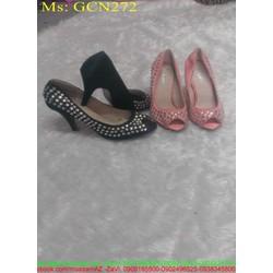 Giày cao gót nữ hở mũi đính kim sa lấp lánh sang trọng GCN272