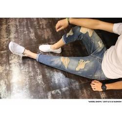 Quần baggy jeans rách thời trang ZAVANS - Xanh bò