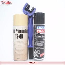 Combo chăm sóc sên xích Liqui Moly + Chai rửa TS40 + Cọ sên