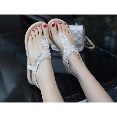 sandal lưới đính đá xỏ ngón
