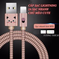 Cáp Sạc Chú Mèo Kute Dây Dù Siêu Bền Lightning Cho Iphone  Ipad