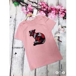 Áo thun mèo kim sa tay con hàng thiết kế! MS: S270906 Giá sỉ: 100k