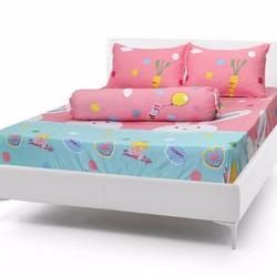 Bộ drap giường + 2 vỏ gối nằm cotton lụa Thỏ tai dài - PL107