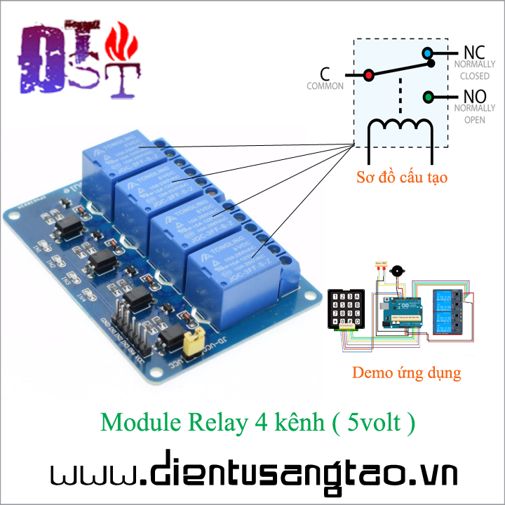 Module Relay 4 kênh -  5volt 1