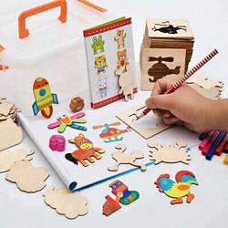 Bộ khuôn vẽ tranh màu và sách vẽ cao cấp cho bé