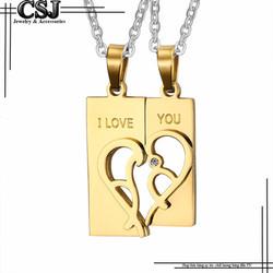 Dây chuyền cặp đôi tình nhân trái tim màu vàng