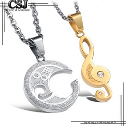 Dây chuyền cặp đôi vòng tròn lồng nốt nhạc vàng