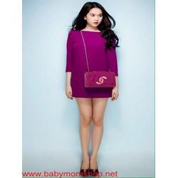 Đầm suông Ngọc trinh thiết kế dài tay màu tím xinh đẹp DSV203