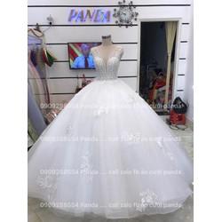áo cưới tay con ngực khoet sâu trắng