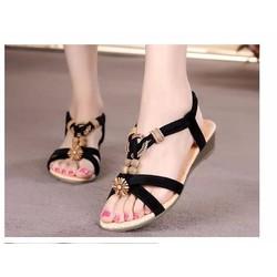 Giày sandal đế bệt nữ quai chéo đính hạt - LN1387