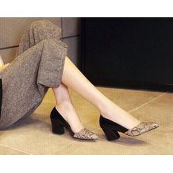 Giày gót vuông  da rắn