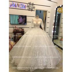 áo cưới tay dài tung ren kim sa trắng