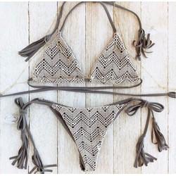 Bikini ghi cột dây đắp ren trắng đính hạt
