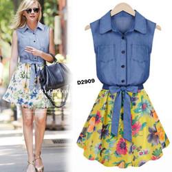 Đầm denim xòe nữ, phối váy voan hoa mềm mại, phong cách Hàn Quốc-D2909