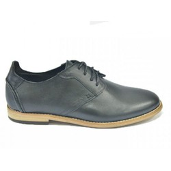 Giày da nam buộc dây 716 thời trang công sở da trơn màu đen
