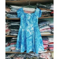 Đầm xòe tay con họa tiết