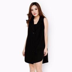 Đầm thời trang form dài dáng vest trẻ trung màu đen