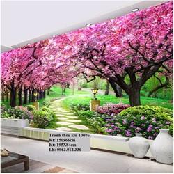 Tranh thêu chữ thập Vườn hoa tình yêu FJ0738-195x84cm