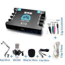 Bộ sound card XOX K10 chuyên nghiệp và đầy đủ phụ kiện kèm theo