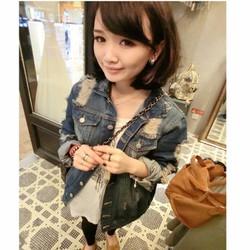 áo khoác jeans nữ rách Mã: AO1385