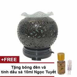 Đèn xông tinh dầu gốm đen lớn tặng 10ml tinh dầu sả ngọc tuyết