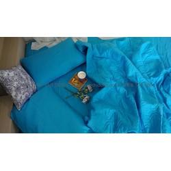 Bộ chăn ga gối Thắng Lợi giảm giá màu xanh 1 màu