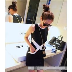 Đầm suông ôm phối màu chéo chữ X xinh xắn-D2771
