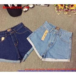 Quần short jean nữ lưng cao lật lai trẻ trung