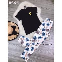 Set bộ áo thun tag 7 quần dài hoa kaki thiết kế! MS: S280915 GS: 115k