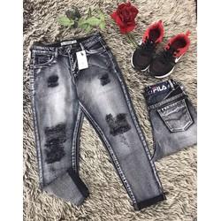 quần baggy jeans rách đen